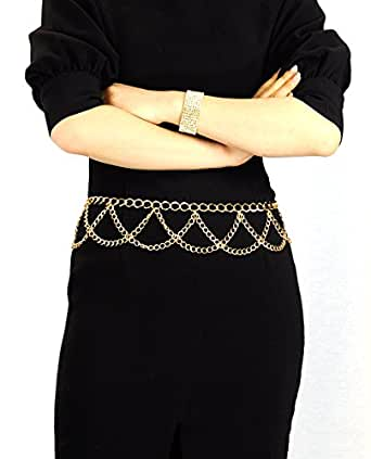NYfashion101 Trendy Belly Chain Belt w/ Multi Link Chains IBT1002-Gold
