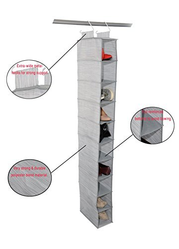 Adorn Home Essentials| Hanging Fabric Shoe Shelf Organizer| Ideal for Shoes, Accessories and Home Essentials| 10-Tier, Insta-Shelf Organizer AD-1029