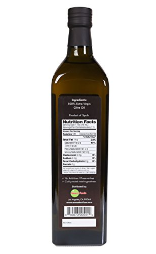 Lombardi Extra Virgin Olive Oil 33.8 fl oz Premium Quality 1 Liter Kosher Product of Spain Cold Pressed for Cooking, Baking, and Salad Dressing by Lombardi (Image #2)'