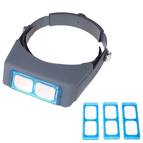 SKYZONAL Double Lens Head-mounted Headband Reading Magnifier Loupe Head Wearing 4 Magnifications ()