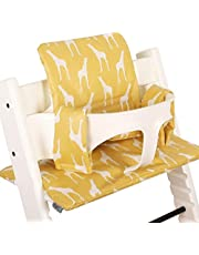 Ukje Cushion Compatible with Stokke Tripp Trapp High Chair (Old and New Model) 2 Pieces, Coated Plastified Cushion, Stokke Tripp Trapp Cushion Easy to Clean, Yellow Giraffe