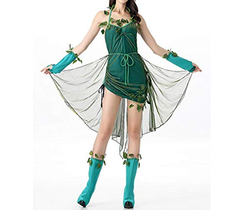 Adult Women Green Tree Flower Mesh Dress Novelty Plant Role Play Costume Tree Fairy Cosplay,Multi,One Size