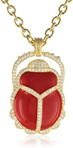 "CZ by Kenneth Jay Lane Gold-Plated Coral Enamel and Cubic Zirconia Scarab Pendant Necklace, 36"", 6 CTTW"