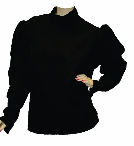 Alexanders Costumes Plus-Size Gibson Girl Blouse-Plus, Black, X-Large (Plus Size Victorian Costumes)