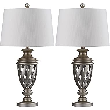 Safavieh Lighting Collection Byron Urn Antique Silver 28.5-inch Table Lamp (Set of 2)