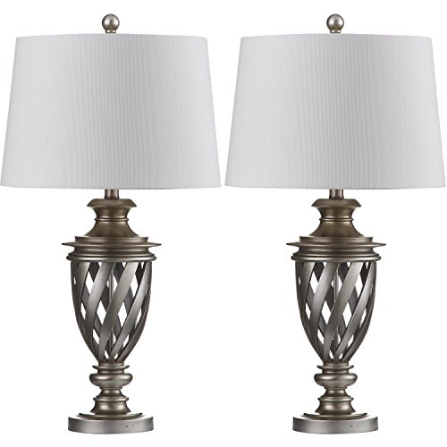 Safavieh Lighting Collection Byron Urn Antique Silver 28.5-inch Table Lamp (Set of 2) (Urn Table Design Lamp)