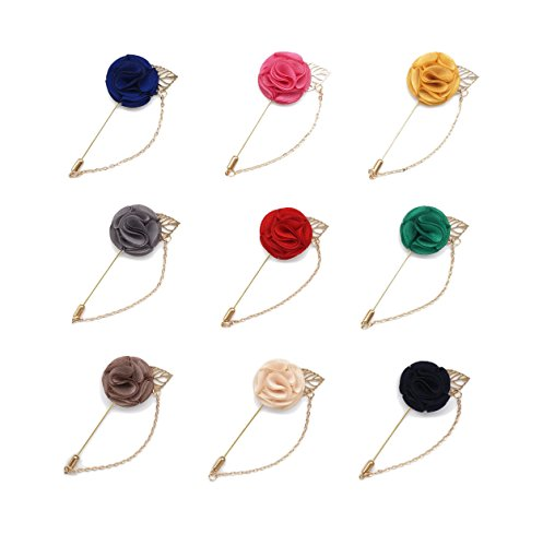 INNEE Handcrafted Lapel Flower 9pcs Boutonniere Pins in Clear Top Tin Box (Style 1)