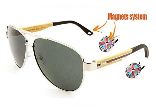 Aviator Clip - Never Fall Sunglasses. Two magnet clips secure sunglasses on your own hat. (Leg Color Bamboo, black)