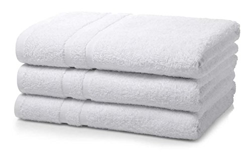 """Globe House Products GHP 3-Pcs White 22""""x44"""" Poly Cotton Soft and Absorbent Platinum Hotel Bath Towels"""