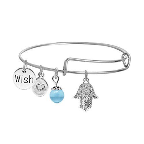 Palm Wire - Meolin Multi-element Message Charm Expandable Wire Bangle Bracelet Best Gifts,Palm wish,2.5-2.6in