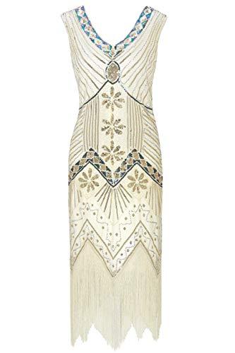- Metme Women's 1920s V Neck Beaded Fringed Gatsby Theme Flapper Dress for Prom
