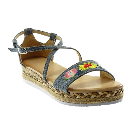 Angkorly Women's Fashion Shoes Sandals Espadrilles - Platform - Ankle Strap - Embroidered - Flowers - Crossed Thongs Wedge Platform 3.5 cm Blue