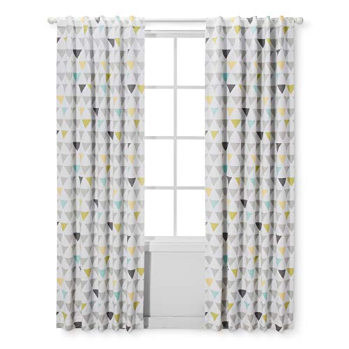 Cloud Island Triangles Window Panel 42''x 84'' White/Grey/Yellow/Blue by Cloud Island