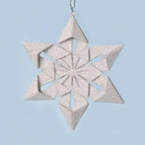 """Roman 4"""" Holy Night Origami Style Star Point Glittered Snowflake Christmas Ornament"""
