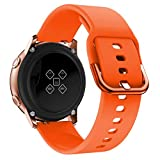 Ansenesna Watch Bands for Men Sports Soft Silicone Replacet Band Strap for Galaxy Watch Active (Orange)