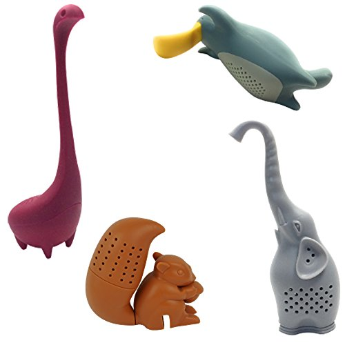 Loose Leaf Tea Infuser Set Of 4 By Hometiz: Sweet And Funny Shapes Of Animals, Silicone Herbal Tea Strainer For Different Kinds Of Mugs And Leaves, Easy To Use And To Clean, Non-Toxic