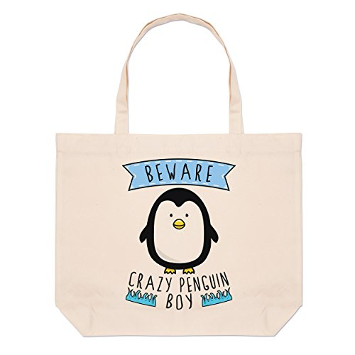 Crazy Tote Beware Crazy Penguin Beware Bag Boy Beach Penguin Boy Large Large XqZ41v