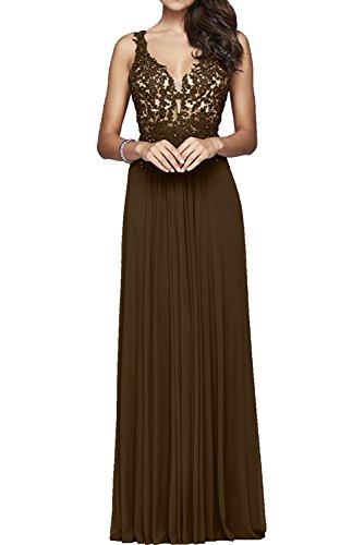 Braut Marie La Brautmutterkleider Abendkleider Promkleider Braun Lang Abschlussballkleider Dunkel Spitze Rot 5PBpdBq