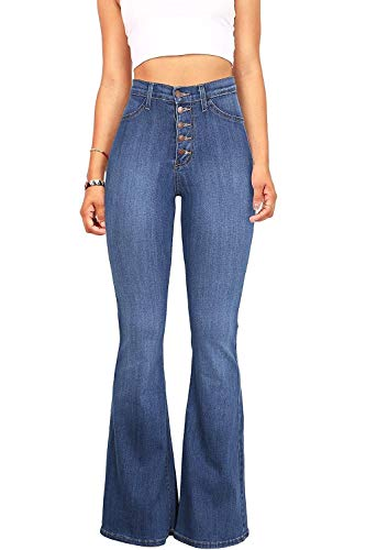 Women's Juniors Trendy High Waist Slim Denim Flare Jeans Bell Bottom Pants (4/6, Light Blue)