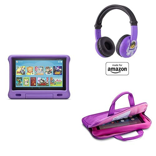 Fire HD 10 Kids Essential Bundle including Kids Fire HD 10 Tablet 32GB Purple + Playtime Bluetooth Headset (Ages 3-7) + Tablet Carrying Sleeve