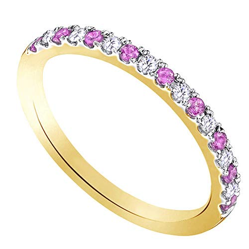 Classic Round Brilliant Cut Diamond And Pink Sapphire Wedding Band in 10K Yellow Sold Gold (0.28 Carat) ()