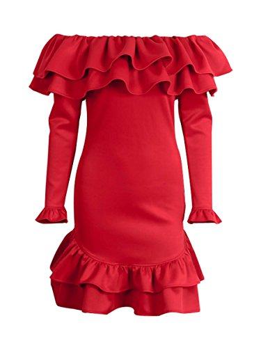 L'automne Des Femmes Simplee Vêtements De L'épaule Robe Courte À Manches Longues Rouge
