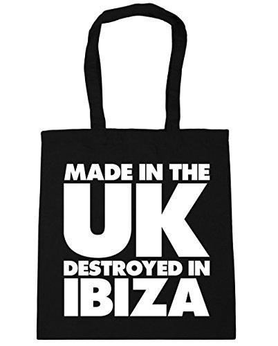 Hippowarehouse Made In The Uk Distrutto Nella Borsa Da Spiaggia Ibiza Shopping Bag Gym 42cm X38cm, 10 Litri - Nero, Taglia Unica