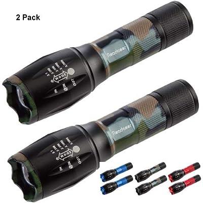 Readaeer Linterna LED , con 5 Modos, un Mejor precio para 2 Linterna calidad--color camuflaje