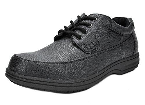 DREAM PAIRS Men's Shack-2 Black Oil Resistant Restaurant Oxfords Work Shoes - 9.5 M (2 Plain Toe Slip)