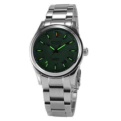 EPOCH 6029G tritium green luminous steel strap sapphire mirror mens business automatic seld-wind mechanical wrist watch - white dial -  EPOCH 6029G N green