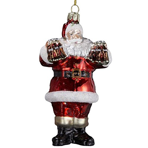 Coca-Cola Kurt Adler Glass Santa Ornament, 5-Inch