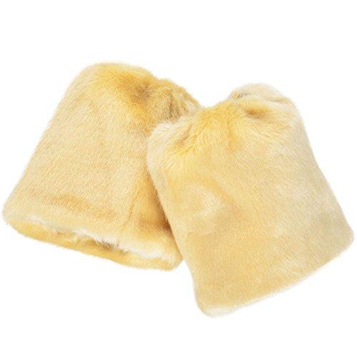 AshopZ Women Winter Furry Faux Fur Leg Warmer Boot Sleeve Cover, Khaki (Sleeve Fur Faux Boot)