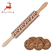 "16.9"" Embossed Rolling Pin for Cookies with Designs 3d Rolling Pin Reindeers Christmas Gift"