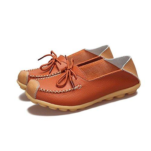 Calzado Fiesta ESAILQ A Elegante Para De Naranja Zapatos Mujer Plano Proteccion Cuero Pisos p1q1Zdg