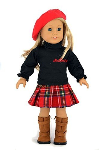 Ebuddy ® 3pc Red Hat+top+grid Skirt School Outfit for 18