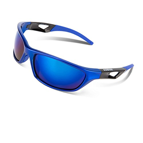 RIVBOS Polarized Sports Sunglasses Driving Sun Glasses for Men Women Tr 90 Unbreakable Frame for Cycling Baseball Running Rb831 (Blue Mirror - Light Polarized Blue