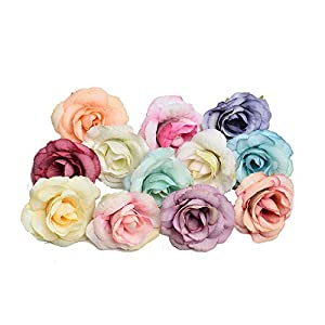 Memoirs- 10Pcs/Lot New Artificial Flowers Silk Rose Flower Heads for Home Wedding Party Decoration DIY Handmade Wreath Scrapbooking Gifts,Multi 116