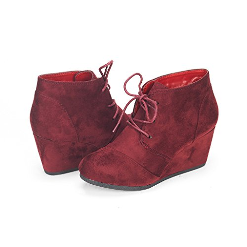 Shoes Womens Burgundy (DREAM PAIRS TOMSON Women's Casual Fashion Outdoor Lace Up Low Wedge Heel Booties Shoes   burgundy 9.5 B(M) US)
