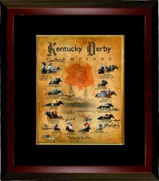 Kentucky Derby Champions signed Churchill Downs Run for the Roses Horse Racing 16x20 Photo Custom Framing 8 signatures