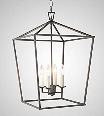 Steel Cage Large Lantern Iron Art Design Candle-Style Chandelier Pendant, Ceiling Light Fixture H25 X W18 Frame Cage