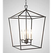 Darlana Openwork Lantern Pendant Stairway Entry Kitchen Hall Foyer Fixture Chandelier (Aged Iron)