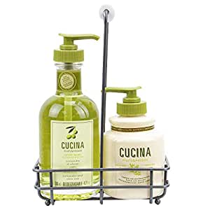 Fruits & Passion [Cucina] - Coriander & Olive Tree Scented Liquid Hand Soap and Lotion Set with Caddy, Antibacterial Hand Wash Soap (5.1 fl oz) with Hand Cream Gift Set (6.8 fl oz)
