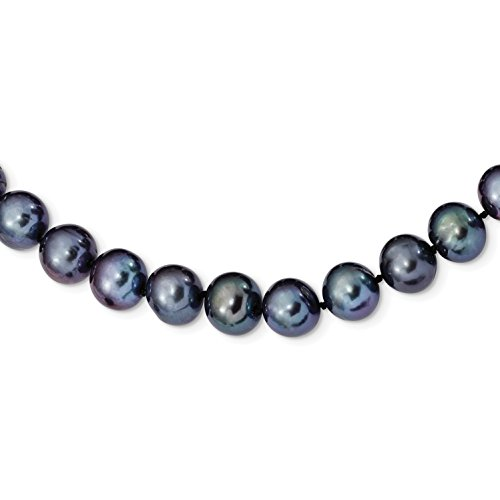 925 Sterling Silver Rhodium-plated 10-11mm Black Freshwater Cultured Pearl Necklace 18 (11mm Black Freshwater Pearl Necklace)