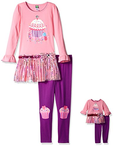 Dollie & Me Big Girls' Knit Tutu Cupcake Birthday Dress with Knit Legging, Pink/Purple, 10 -