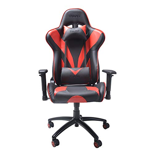 ZENEZ Gaming Chair Video Game Chairs Racing Style PU Leather High Back Adjustable with Headrest and Lumbar Support for Long Sessions of Computer Gaming or Office Working (Red)