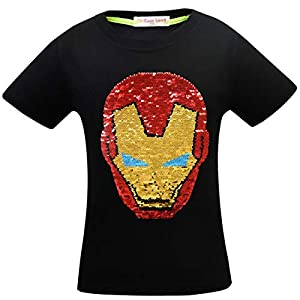 Superhero Shirts for Boys Girls Flash Flip Sequin T-Shirt Tee Tops 4-14 Years Old Red