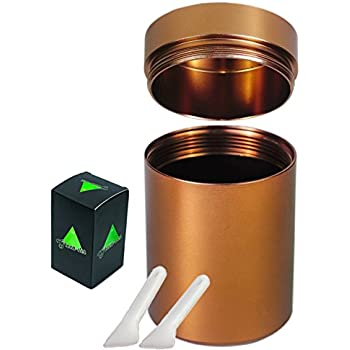 Metal Smell-Proof Stash Container for Weed, Herbs, Spices, and Tobacco, Airtight and Discreet Storage Jar with 2 Pollen Scraper Tools, Bronze Brown.