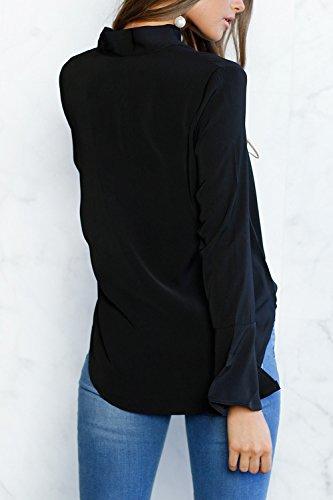 La Mujer Elegante Vintage 1940 's Long Flare Pussy Bow Monocolor Manga Camisa Blusa De Otoño Black