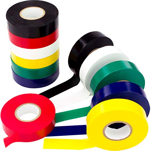 Weather-Resistant Colored Electrical Tape 60 Jumbo Roll 12 Pack by Nova Supply. Color Code Your Electric Wiring Safely with Indoor/Outdoor PVC Vinyl, UL Listed to 600V, for a Variety of Taping Needs
