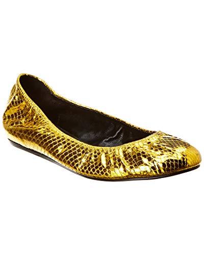 (LANVIN Classic Snakeskin-Embossed Metallic Leather Ballet Flat, 37.5, Metallic)
